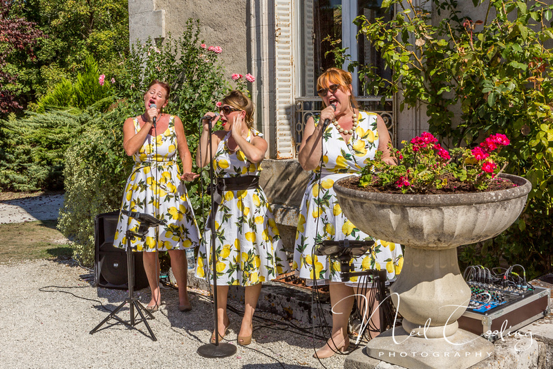 The Candies with Neil Cooling at a Dordogne Chateau Wedding, France